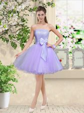Shining A-line Quinceanera Dama Dress Lilac Off The Shoulder Organza Sleeveless Knee Length Lace Up