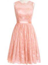 Stunning Peach Scoop Zipper Lace Vestidos de Damas Sleeveless
