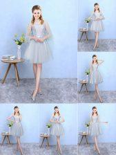 Enchanting Sleeveless Knee Length Lace Lace Up Vestidos de Damas with Silver