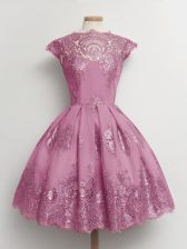 Artistic Tulle Scalloped Cap Sleeves Lace Up Lace Quinceanera Court of Honor Dress in Lilac