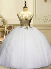 Pretty Sleeveless Appliques and Ruffles Lace Up Quinceanera Gown