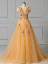 Smart Gold Empire Tulle Scoop Sleeveless Appliques and Pattern Lace Up Prom Party Dress Brush Train