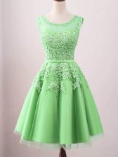 Glamorous Green Sleeveless Knee Length Lace Lace Up Quinceanera Dama Dress