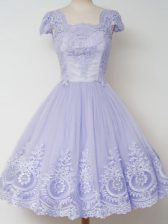 Lavender Cap Sleeves Knee Length Lace Zipper Damas Dress