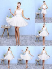 White Sleeveless Chiffon Lace Up Dama Dress for Beach and Wedding Party