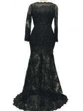 Low Price Lace and Belt Prom Party Dress Black Backless Long Sleeves Brush Train