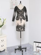 Long Sleeves Zipper Mini Length Lace and Appliques Homecoming Dress