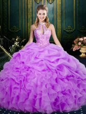 Amazing Lilac Lace Up Quinceanera Dresses Beading and Ruffles and Pick Ups Sleeveless Floor Length