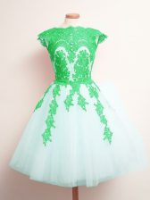White Lace Up Scalloped Appliques Dama Dress Tulle Sleeveless