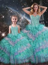Ball Gowns Sweet 16 Quinceanera Dress Multi-color Sweetheart Organza Sleeveless Floor Length Lace Up