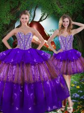 Super Multi-color Sweetheart Lace Up Beading and Ruffled Layers and Sequins Sweet 16 Dresses Sleeveless