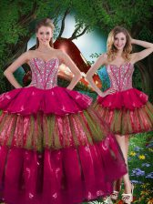 Best Selling Burgundy Lace Up Sweetheart Beading and Ruffled Layers Quince Ball Gowns Organza Sleeveless