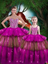 Superior Fuchsia Sleeveless Organza Lace Up Vestidos de Quinceanera for Military Ball and Sweet 16 and Quinceanera