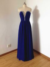 Custom Made Royal Blue Side Zipper Quinceanera Dama Dress Beading Sleeveless Floor Length