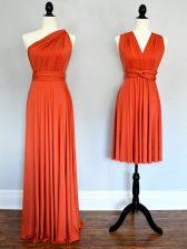 Orange Red Empire Chiffon One Shoulder Sleeveless Ruching Floor Length Lace Up Dama Dress
