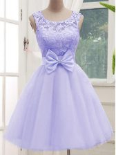 Vintage Tulle Sleeveless Knee Length Dama Dress for Quinceanera and Lace and Bowknot