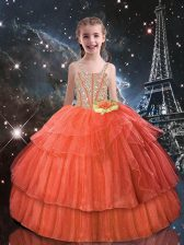 Best Floor Length Orange Red Little Girls Pageant Dress Wholesale Straps Short Sleeves Lace Up