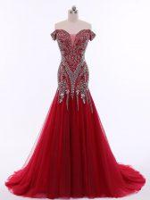 Tulle Sleeveless Prom Party Dress Brush Train and Beading