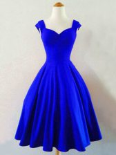 Smart Royal Blue Lace Up Straps Ruching Quinceanera Court of Honor Dress Taffeta Sleeveless