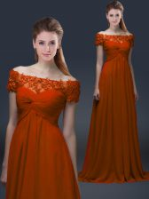 Rust Red Short Sleeves Chiffon Lace Up for Prom and Party