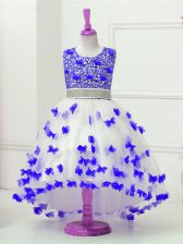 Blue And White Sleeveless Tulle Zipper Little Girls Pageant Dress for Wedding Party