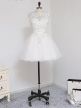 Amazing Scoop Sleeveless Tulle Evening Dress Beading and Lace and Appliques Zipper