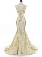 Custom Fit Gold Straps Backless Sequins Evening Dress Brush Train Sleeveless