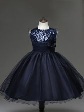 Sleeveless Knee Length Sequins and Hand Made Flower Zipper Kids Pageant Dress with Navy Blue