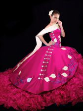 V-neck Sleeveless Quinceanera Gown Brush Train Embroidery and Ruffles Fuchsia Taffeta