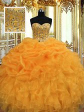 Colorful Orange Ball Gowns Beading and Ruffles Quinceanera Dress Lace Up Organza Sleeveless Floor Length