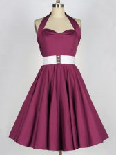 Customized Taffeta Sleeveless Knee Length Dama Dress for Quinceanera and Belt