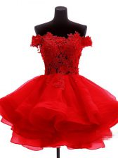 Colorful Sleeveless Zipper Mini Length Lace and Appliques and Ruffles Prom Evening Gown
