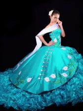 Fancy Embroidery and Ruffles Vestidos de Quinceanera Aqua Blue Lace Up Sleeveless Brush Train