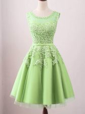 Elegant Sleeveless Lace Up Knee Length Lace Dama Dress for Quinceanera