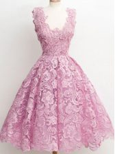 Vintage Lilac Sleeveless Lace Zipper Quinceanera Court Dresses for Prom and Party and Wedding Party