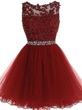 Burgundy A-line Scoop Sleeveless Tulle Mini Length Zipper Beading and Lace and Appliques Dress for Prom