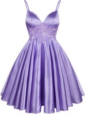 Unique Lilac A-line Elastic Woven Satin Spaghetti Straps Sleeveless Lace Knee Length Lace Up Quinceanera Dama Dress
