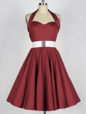 Burgundy Dama Dress Prom and Party and Wedding Party with Belt Halter Top Sleeveless Lace Up