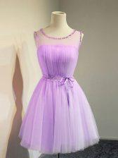 Vintage Lavender Empire Belt Vestidos de Damas Lace Up Tulle Sleeveless Knee Length