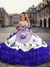 Beautiful Purple Sweet 16 Dresses Military Ball and Sweet 16 and Quinceanera with Embroidery and Ruffled Layers Sweetheart Sleeveless Lace Up