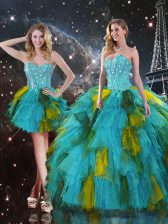 Ideal Multi-color Sleeveless Floor Length Beading and Ruffles Lace Up Ball Gown Prom Dress