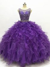 Glittering Purple Ball Gowns Beading and Ruffles Sweet 16 Dress Lace Up Organza Sleeveless Floor Length