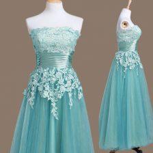 Glittering Light Blue Sleeveless Tea Length Appliques Lace Up Quinceanera Dama Dress