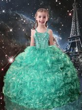 Ball Gowns Little Girls Pageant Dress Turquoise Straps Organza Sleeveless Floor Length Lace Up