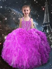 Top Selling Floor Length Fuchsia Little Girls Pageant Dress Wholesale Straps Sleeveless Lace Up