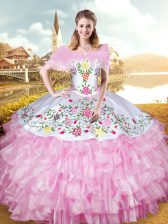 Lovely Rose Pink Lace Up Sweetheart Embroidery and Ruffled Layers Quinceanera Gowns Organza Sleeveless