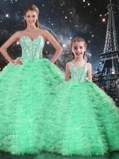 Turquoise Sleeveless Beading and Ruffles Floor Length Quinceanera Gowns