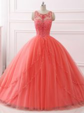 Coral Red Sweetheart Lace Up Beading and Lace 15th Birthday Dress Brush Train Sleeveless