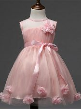 Pink A-line Tulle Scoop Sleeveless Hand Made Flower Knee Length Zipper Pageant Gowns For Girls