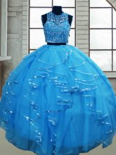 Tulle Sleeveless Floor Length 15th Birthday Dress and Beading and Ruffles